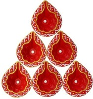 CraftEra Ceramic (Pack of 6) Table Diya Set(Height: 1 inch)