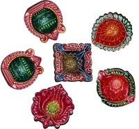 DakshCraft Elegant Colorful Decorative Diwali Diya Terracotta Table Diya Set(Height: 1 inch, Pack of