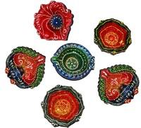 DakshCraft Indian Hand Printed Decorative Diwali Terracotta Table Diya Set(Height: 1 inch, Pack of 6