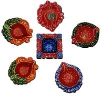 DakshCraft Home Decoration with Decorative Diwali Diya Terracotta Table Diya Set(Height: 1 inch, Pac