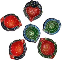 DakshCraft Hand Crafted Terracotta Decorative Diwali Diya Terracotta Table Diya Set(Height: 1 inch,