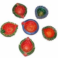 DakshCraft Designer Multicolor Decorative Diwali Terracotta Table Diya Set(Height: 1 inch, Pack of 6
