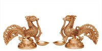 Aakrati Pair of Bird Oil Lamp Brass Table Diya Set(Height: 6.2 inch, Pack of 2)