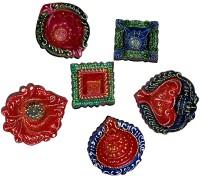 DakshCraft Colorful designes of Decorative Diwali Diya Terracotta Table Diya Set(Height: 1 inch, Pac
