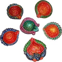 DakshCraft Hand Crafted Colorful Decorative Diwali Terracotta Table Diya Set(Height: 1 inch, Pack of