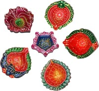 DakshCraft Traditional Handmade Colorful Decorative Diwali Diya Terracotta Table Diya Set(Height: 1