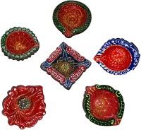 DakshCraft Handmade Colorful Elegant Decorative Terracotta Table Diya Set(Height: 1 inch, Pack of 6)