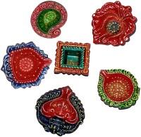 DakshCraft Bright Multicolors Hand Printed Decorative Diwali Terracotta Table Diya Set(Height: 1 inc