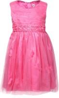 Chalk by Pantaloons Girls Midi/Knee Length Casual Dress(Pink, Half Sleeve)
