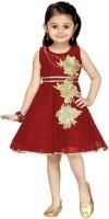 Aarika Girls Midi/Knee Length Party Dress(Maroon, Sleeveless)