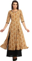 Cottinfab Womens Layered Brown, Multicolor Dress