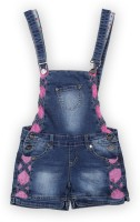 Lilliput Dungaree For Girls Solid Cotton(Blue)