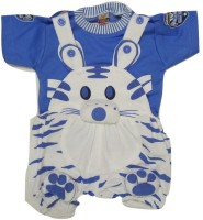 Kid n Kids Dungaree For Boys Animal Print Cotton(Blue)