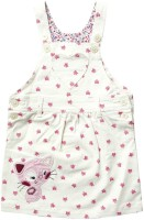 Wow Mom Dungaree For Girls Casual Printed Cotton(White)