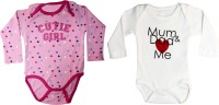 Starsy Romper For Boys & Girls Printed Cotton(Pink)