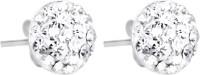 1976 Jewels White Diamonds Swarovski Crystal Sterling Silver Stud Earring