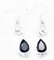 YugshaJewels Sparkling YJE-889 Garnet Sterling Silver Dangle Earring