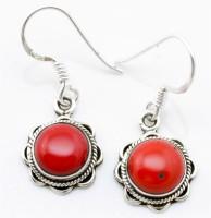 YugshaJewels Coral Sterling Silver Dangle Earring