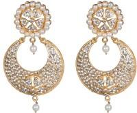 Taj Pearl Designer Pearl, Crystal Brass Chandbali Earring