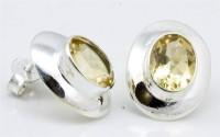 YugshaJewels YJE-78 Citrine Silver Stud Earring