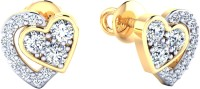 Samaira Gem and Jewelery Love Forever Yellow Gold 14kt Swarovski Crystal Stud Earring