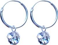 abhooshan Crystal Sterling Silver Hoop Earring
