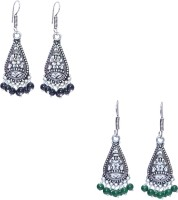 11 Girls Beautiful German Silver Jhumki combo of 2 Alloy Earring Set