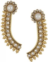 the jewelbox Pearl Temple Cubic Zirconia Copper Stud Earring