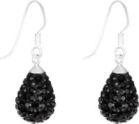 1976 Jewels Black Diamond Swarovski Crystal Sterling Silver Drops & Danglers