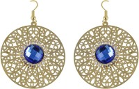 HIGH TRENDZ Golden Circle With Blue Crystal Alloy Drops & Danglers