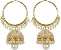 Meenaz Wedding Bridal Jewellery Kundan Pearl Jhumka Jhumki Earrings For Women Girls Ear rings for Girls Traditional Ethnic Gold Necklace Jewellery set for women -J148 Cubic Zirconia, Pearl Copper, Brass Jhumki Earring