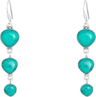 1976 Jewels Hearty Turquoise Sterling Silver Drops & Danglers