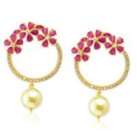 Spargz Gold Plated Pretty Pink Earrings For Women Diamond Brass Drops & Danglers