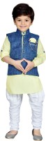 AJ Dezines Boys Festive & Party Kurta, Waistcoat and Pyjama Set(Yellow Pack of 1)