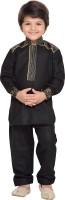AJ Dezines Boys Festive & Party Pathani Suit Set(Black Pack of 1)