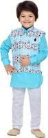 AJ Dezines Boys Festive & Party Kurta and Pyjama Set(Light Blue Pack of 1)