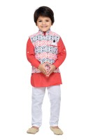 AJ Dezines Boys Festive & Party Kurta, Waistcoat and Pyjama Set(Orange Pack of 1)