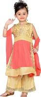 Adiva Girls Festive & Party Kurta and Pallazo Set(Pink Pack of 1)