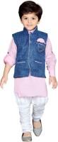 AJ Dezines Boys Festive & Party Kurta, Waistcoat and Pyjama Set(Pink Pack of 1)