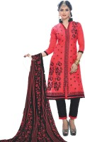 Pshopee Cotton Embroidered Salwar Suit Dupatta Material(Un-stitched)
