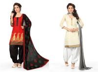 BanoRani Chanderi Embroidered Salwar Suit Dupatta Material(Un-stitched)
