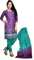 Minu Suits Cotton Embroidered Salwar Suit Dupatta Material(Un-stitched)