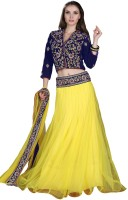 Jiya Net Self Design, Embroidered, Embellished Semi-stitched Lehenga Choli Material