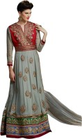 Aagaman Fashion Synthetic Georgette Self Design Semi-stitched Salwar Suit Dupatta Material