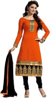 0 Chanderi Embroidered Salwar Suit Material(Un-stitched)