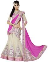 Welcome Fashion Embroidered Lehenga Saree Handloom Chiffon Saree(White, Pink)