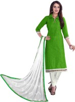 Vardhman Synthetics Chanderi Embroidered Dress/Top Material(Un-stitched)