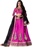 Jiya Self Design, Embroidered, Embellished Lehenga Choli(Pink)
