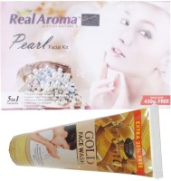 Bigsale786 Real Aroma Pearl Facial Kit 5 in 1 Free Aroma Gold Face Wash 740 g(Set of 5)