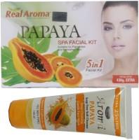 Bigsale786 Real Aroma Papaya Spa Facial Kit 5 in 1 Free Aroma Papaya Soap Free Face Wash 740 g(Set of 5)